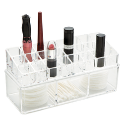 Acrylic 24 Slot Lipstick Holder with 3 Compartment Box