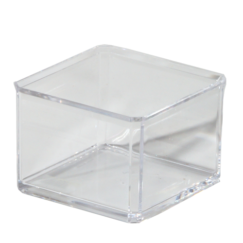 Acrylic square stackable box has a clear design to easily identify contents. It features a lid that protects content from dust, pests and water.