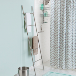 Made from stainless steel. This towel ladder leans on wall for easy installation.