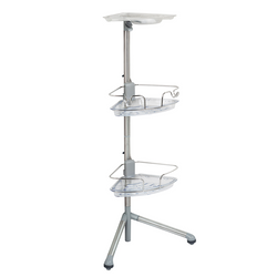 It has non-slip feet that are adjustable to accommodate uneven shower floors and provide perfect balance. The caddy has 2 shelves that can be adjusted to the users preferences. It is rust-proof and made from stainless steel.