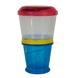 The Cereal to Go features two compartments that snap together. Assorted colours.