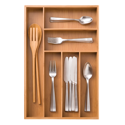 Bamboo tray is perfect for storing your cutlery. It has 6 separate compartments for knives, forks, spoons and extra kitchen utensils.