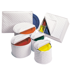 The Quilted Vinyl covers are stylish and will protect your finest dinnerware. The set is lightweight, durable and easy to clean.