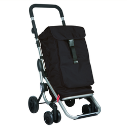 Made of a heavy duty, machine washable fabric, this shopper has a thermal insulated zipper compartment. An adjustable, padded non-slip handlebar, and front wheels that have a 360 degree swivel.