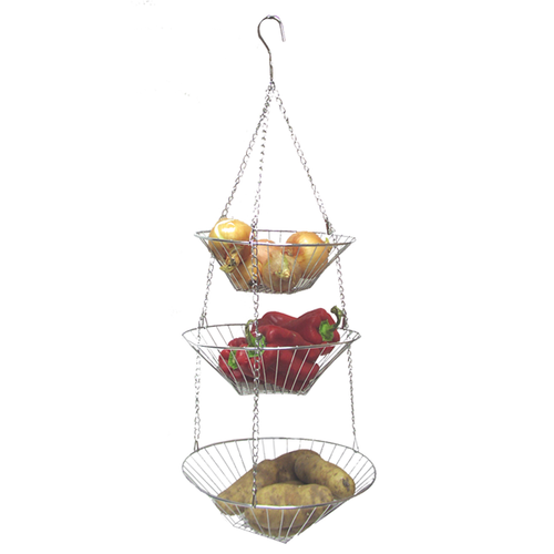 3 tiered hanging basket hangs with a hook. Made from chrome steel wire.
