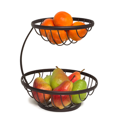 It has 2 open bowls to display fruit. It is made from study stainless steel with a brushed bronze finish.