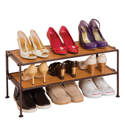 2 Tier Stacking Resin Shoe Rack have removable shelf panels for connecting multiple shoe racks together. Folds flat for easy storage. No tools required.