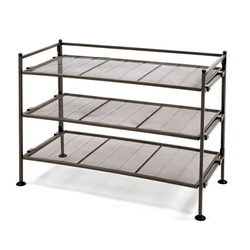 Features removable mesh panels for connecting multiple shoe racks together. Folds flat for easy storage.