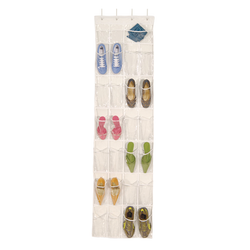 Shoe caddy made from clear vinyl. Holds up to 12 pairs of shoes and 2 additional pocket for accessories. Clearly visible to help with organization.