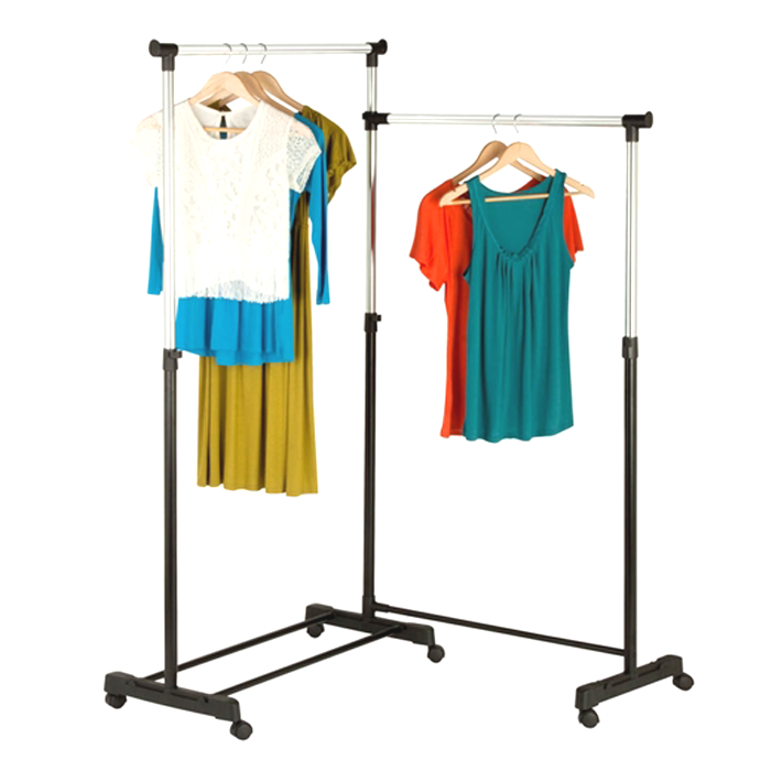corner dual garment rack twice the storage space made from steel features rolling swivel casters