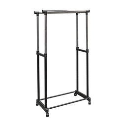 "Features two flared rods with adjustable height from 44"" to 69"". It has four plastic casters that offer easy mobility and grants 68"" of hanging space. Great for any home."
