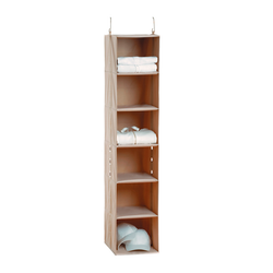 Six shelves. Equipped with weight bearing nylon strapping and durable positioning grommets.