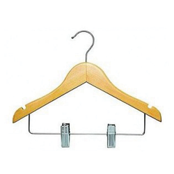 Child's Natural Hanger With Clips