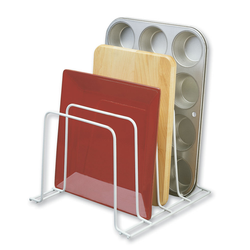 Has 4 slots with a sturdy non-slip design. This can hold binders, files, pan lids, plates and more.