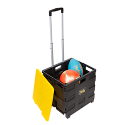 Two wheel'd hand cart with a retractable handle. Can collapse to 3-inches for quick storage. The cart can sustain up to 80lbs and lid supports up to 250lbs. Made from aluminum and heavy-duty plastic.