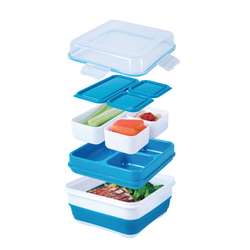 Has 3 containers for food storage. Has a leak proof cap to hold sauces.