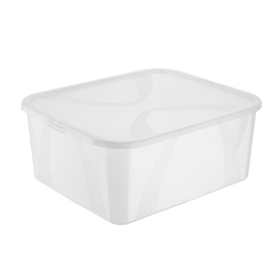 Transparent boxes that protect items from dust, dirt and moisture. Boxes feature a snap fastener lids and can be easily stacked.