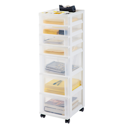 This unit has 4 shallow and 3 deep drawers, sustaining 5lbs and 15lbs respectively. The storage drawers have built in casters for easy mobility.
