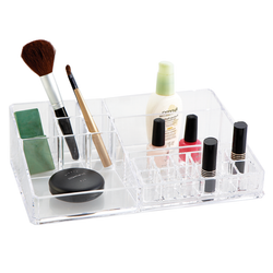Organize all make up products. Can be stored anywhere from your vanity to your bathroom to your office.
