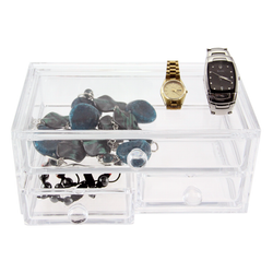 Features 3 drawers made from strong acrylic plastic. The unit is clear for easy identification of items.