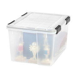 Weathertight seal protects items from moisture, dust and pests. The grooves in the lid ensure the boxes can be safely stacked. The four latches keep lid securely attached.