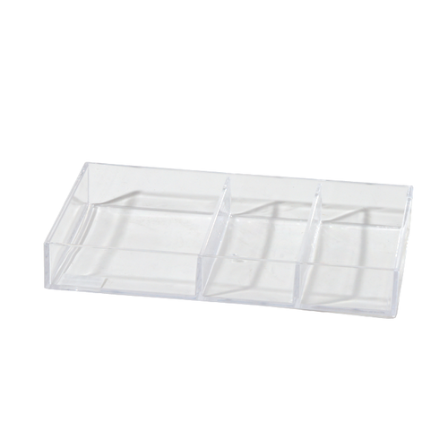 Acrylic Jewelry Organizer has a clear design to help easily identify items. It has 3 compartments for excess amount of storage space.