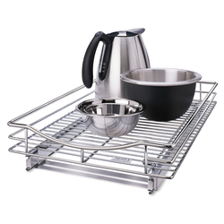 Made from heavy duty chrome metal. Easy to pull out from cabinets to help extend range.