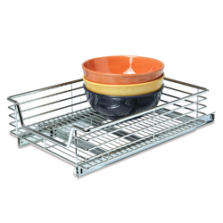 The heavy duty chrome metal design gives you the strongest support for any kitchen supply. Hardware included for an easy set-up. Easily slides out so you can retrieve anything.