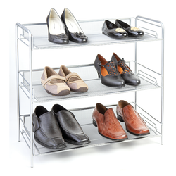 3 Tier Silver Mesh Shoe Rack.