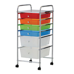 6 drawer plastic drawer trolley. Constructed from chrome plated steel. It features 4 casters for easily mobility.