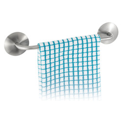 Towel bar features an adhesive backing that will hold onto any surface. Made from brushed finish stainless steel.