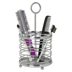 Contemp Hair Care Caddy features a decorative handle for easy mobility.  It has four dividers to keep items organized.