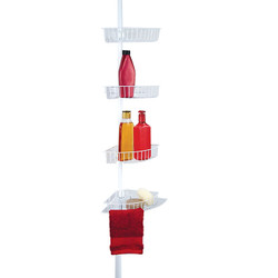 Bath ware tension caddy features 4 shower shelves that can be placed at any height.