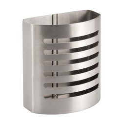 The Affix Forma Pencil Cup is made from stainless steel with a brushed finish. It features an adhesive back that lets it stick to any surface.