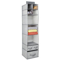 Aldo Closet Organizer stores clothes, crafts and other accessories. Hangs over closet rod which features 7 shelves and 3 drawers. Made from breathable polypropylene.