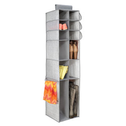 Aldo Boot & Accessory Organizer stores clothes, crafts and other accessories. Hangs over closet rod which features 16 compartments. Made from breathable polypropylene.