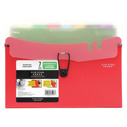 Five Star Expand 7 Pocket File in Red
