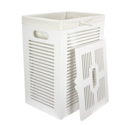 Cottage Hamper in White with Lid off