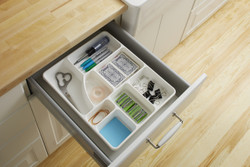 Junk Drawer Organizer in White shown in drawer