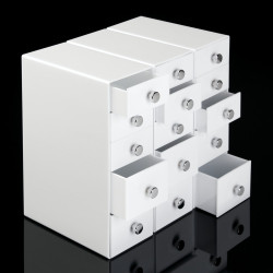 5 Drawer Desk Organizer in White shown with 3 units