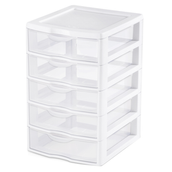 Small 5 Drawer Organizer, White & Clear