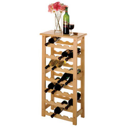 BEECH WINE RACK HOLDS 28 BOTTLES