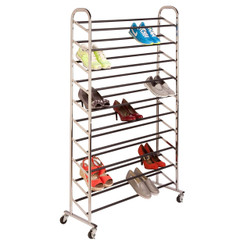 Chrome Rolling 50 Pair Shoe Tower