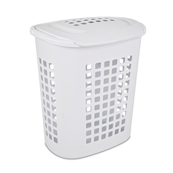 Has a lid that keeps laundry contained with integrated handles for easy mobility. It is made from plastic with a ventilated design to keep air flow through your clothes.