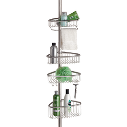 Shower shelves can be placed at any height for convenience.  Everything is rested on the corrosion resistance brushed stainless steel. It comes with a towel bar and hooks to hang bathroom essentials.
