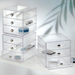 Stack-able with other acrylic 3 drawer organizers. Small enough to fit in majority of areas in your bathroom, bed room and more.
