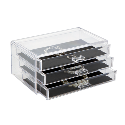The beautiful and sleek crystal clear acrylic makes your jewelry easily visible. It has 3 drawers.