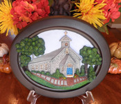 CUSTOM COMMISSIONED 3D SCULPTURE  Custom Commissioned Handcrafted 3D Sculpture. An original handcrafted creation by Artist Ivy McGowan.   ABOUT ST. MARY'S CHAPEL  St. Mary's Chapel is the chapel of SS. Phillip & James Parish. The charming and beloved St. Mary's Chapel with its stone gray exterior and stained glass windows stands at the corner of Lancaster Avenue and Ship Roads in Exton, PA. First built in 1793 as a livery stable it was converted to a Chapel in 1873 and it continues to make its mark in the Evangelical history of Chester County today.  3D Sculpture is 12.5w x 10.5h x 1.75d. 3D Sculpture comes boxed with a gift card. It includes and embedded picture hanger in the rear for easy installation.  Copyright 2014. All Rights Reserved.