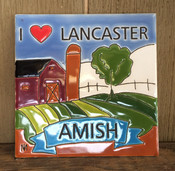 "This ""I Heart Lancaster, Amish"" colorful ceramic tile is 6 x 6. It is inspired by the local Lancaster, PA countryside."