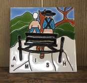 "This ""Amish Man and Woman"" colorful ceramic tile is 6 x 6. It is inspired by the local Lancaster, PA countryside."